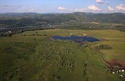 Lake from the height of bird flight. Stock Photo