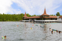 Lake Heviz and building of Heviz Spa Stock Photos