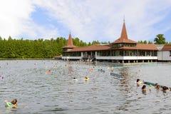 Lake Heviz and building of Heviz Spa stock photos