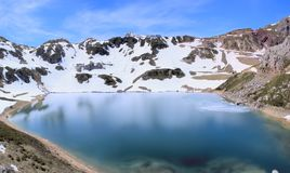 Lake of high mountain, former glacier. Stock Photo