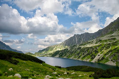 Lake high in mountains in summer Royalty Free Stock Photo