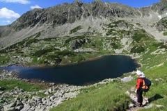 Lake and hiker royalty free stock photos