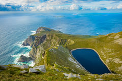 A lake in a hill on Achill island, Co. Mayo. A lake in a hill on Achill island, Co. Mayo, Ireland royalty free stock image