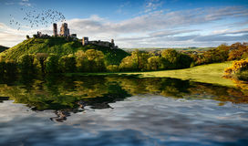 Lake and hill with ruin landscape Royalty Free Stock Photography