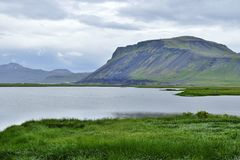 Lake and hills in the beautiful landscape of Snaefellsnes peninsula. Iceland royalty free stock photo