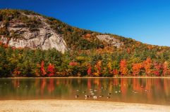 A lake among the hills with bright colorful autumn trees. Sunny day. Acadia National Park. USA. Maine. royalty free stock photos