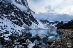 Lake in Himalaya mountains stock photography