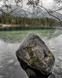Lake Hintersee with Alps in background, Berchtesgaden, Germany Royalty Free Stock Photo