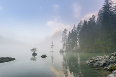 Lake Hintersee with mist Stock Photos