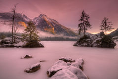 Lake hintersee. In Winter at sunset Stock Image