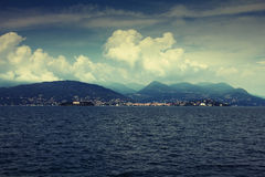 Lake horizon. Horizon on Lago Maggiore (Great Lake) in the north of Italy. Cloudy sky Royalty Free Stock Image