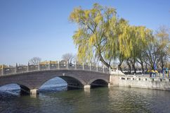 Lake houhai and stone bridge in beijing city. Lake houhai with stone bridge in center area of beijing city stock image