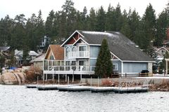 Lake House. On Big Bear Lake California Stock Photography