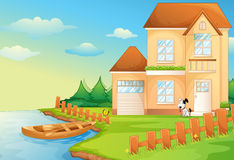 Lake house. Illustration of a house by the lake vector illustration
