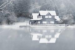 Lake house in Abant lake royalty free stock photography