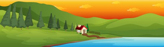 A Lake House in the Big Valley. Illustration Stock Photos