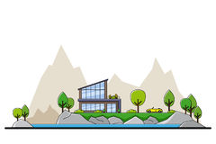 Lake house concept. Picture of modern private residential house with trees and big sity silhouette on background, real estate and construction industry concept Stock Photos
