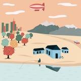 Lake house, a man fishing royalty free illustration