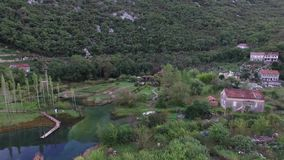 Lake house. In Montenegro, in the village stock video footage