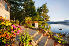 Lake house sunrise Royalty Free Stock Image