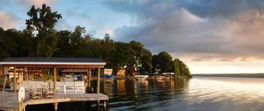 Lake house sunrise panorama Royalty Free Stock Photo