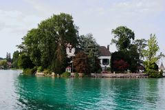 The lake house. With trees royalty free stock photo