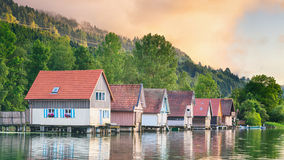 Lake Houses at Sunset Stock Photos