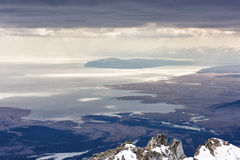 Lake Hovsgol From Height Of Mountains. Overcast Stock Photo