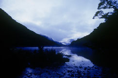 Lake Howden, Routeburn Track, New Zealand. Lake Howden at dawn on the Routeburn Track on New Zealand's South Island Royalty Free Stock Image