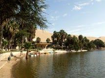 Lake at Huacachina oasis village Stock Photography