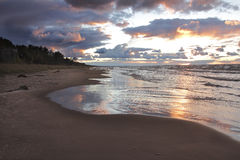 Lake Huron Beach After a Storm Royalty Free Stock Photography