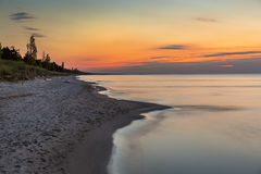 Lake Huron Beach after Sunset - Ontario, Canada Stock Photography
