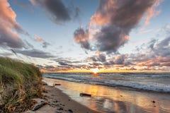 Lake Huron Beach at Sunset Royalty Free Stock Photos