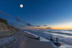 Lake Huron Beach at Twilight Stock Photography