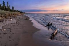 Lake Huron Beach at Twilight Royalty Free Stock Photos