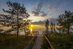 Lake Huron Boardwalk at Sunset Stock Image