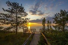 Lake Huron Boardwalk at Sunset Stock Image