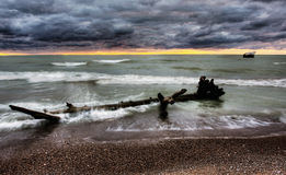 Lake Huron at Dusk. Lake Huron, bounded on the west by the U.S. state of Michigan, and on the east by the province of Ontario, Canada Stock Photo