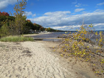 Lake Huron Shoreline in the Fall. By the Singing Bridge looking north on a sunny cloudy day royalty free stock photography