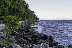 Lake Huron shoreline on Mackinac Island, Michigan royalty free stock photos