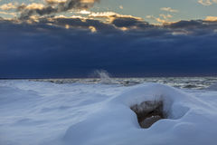 Lake Huron Shoreline in Winter Royalty Free Stock Photo