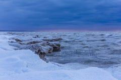 Lake Huron Shoreline in Winter Stock Photography