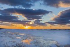 Lake Huron Shoreline in Winter at Sunset Royalty Free Stock Photo