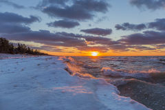 Lake Huron Shoreline in Winter at Sunset Stock Photography