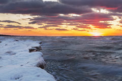 Lake Huron Shoreline in Winter at Sunset Royalty Free Stock Photography