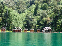 Lake huts village, Khao Sok Stock Photography