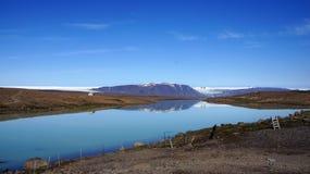 Lake Hvitarvatn from the Langjökull glacier. Stock Photos