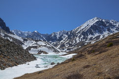 Lake i bergen Arkivfoto