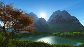 Lake i bergen royaltyfri illustrationer