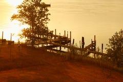 Lake i soluppgång i buffel Arkivbilder
